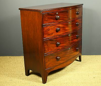 Fine Georgian Mahogany Bow Fronted Chest Of Drawers