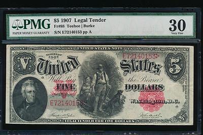 AC Fr 88 1907 $5 Legal Tender PMG 30 WOODCHOPPER Teehee/Burke