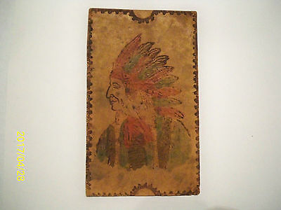 Antique 1906 Leather Postcard   American West Indian Chief