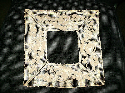 Vintage Off White Fillet Crochet Yoke or Collar With Flower Pattern
