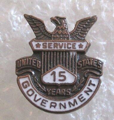 Vintage Government 15 Year Service Award Pin - US Government Employee