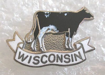 Vintage State of Wisconsin Travel Souvenir Collector Pin-Cow