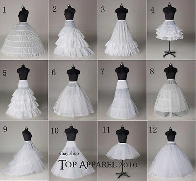 White Wedding Bridal White A Line Hoops Hoopless Crinoline Petticoat Underskirt