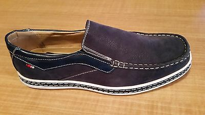 Lot (N2) Phat Classic Sz. 9.5 Men Navy  Slip On Casual Fashion Loafer Boat Shoes
