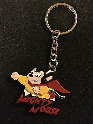 Brand New Mighty Mouse Rubber Key Chain *Terrytoons
