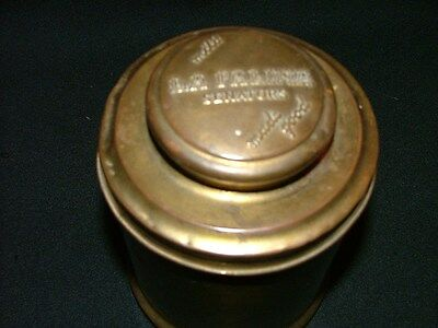 Antique 1920's Brass Mild LA Palina Senators Tobacco Tin Humidor/Canister