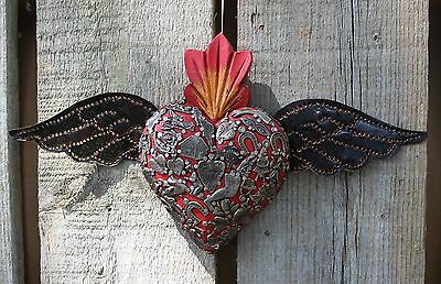 Red Wood Heart Tin Wings Milagros Folk Art Michoacán Mexico Love Shabby Chic