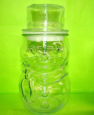Clear Glass  Snowman Top Hat Lid  Candy Jar