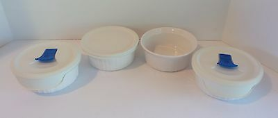 Set of 4 Corning Ware French White 500ML Dishes F-16-B with 3 Lids