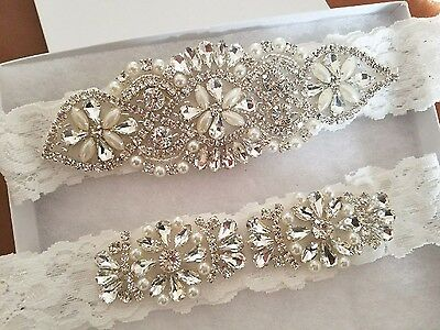Wedding Bridal Garter - Crystal Pearl OFF WHITE Lace Garter Set