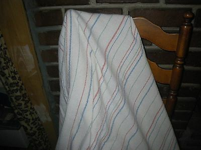 Vintage Woven Striped Tablecloth ~Picnic ~Blanket ~Cream White/Red/Blue