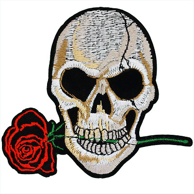 Skull and Rose Patch — Iron On Badge Embroidered Motif — Biker Death Flower