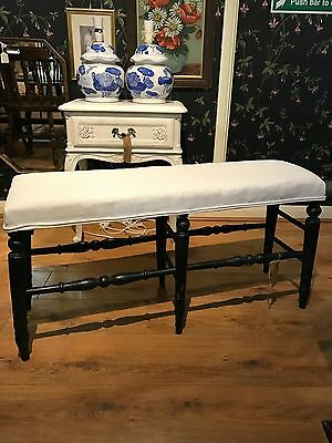 Victorian Country House Ebonised Window Conservatory  Bench Seat, circa 1890.