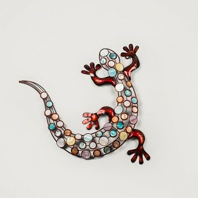 Jewelled Gecko Wall Hanging Metal Art