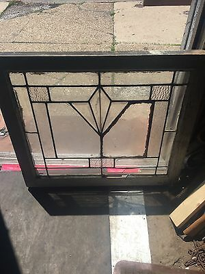 Rare Antique Deco Diamond Floral Heavy Beveled Window For Restoration
