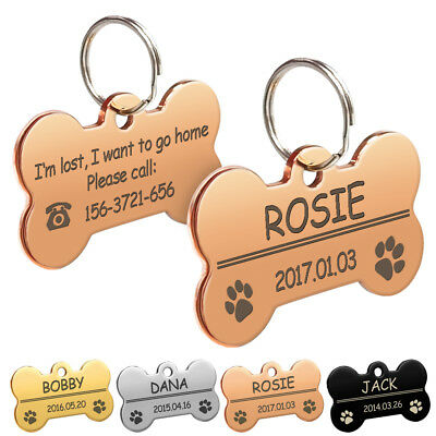 Dog Tags Personalized Custom Name Plate Free Engrave Gold Sliver Black Rose S L