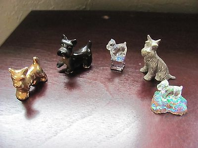 Lot of 5 Pewter, Crystal, Ceramic Scottish Terrier, Scottie Dog Small Statues