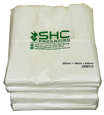 Plastic Singlet Grocery Carry Shopping Checkout Bags SMALL 1500PCS White OR Grey