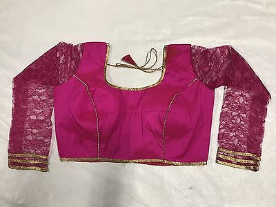 New designer silk & net padded pink ready made saree blouse back closure size 36