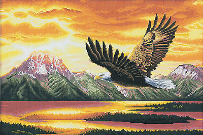 Flying Eagle 14CT counted cross stitch kit, 63cm x 46cm fabric. CSK0150