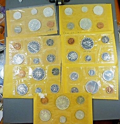 Canada 1961 - 1967 7 Sealed Silver Mint Sets Beautiful Coins