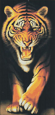 Tiger King 14CT counted cross stitch kit, 87cm x 46cm fabric. CSK0217