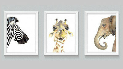 Set of Three Safari Animal Print Set watercolour art nursery prints painting