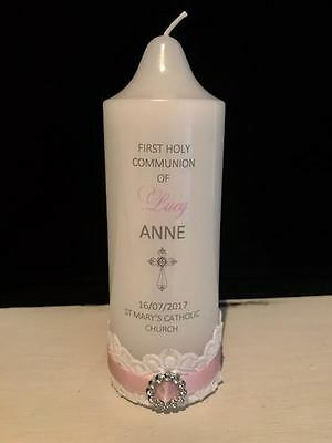 Personalised Girls Holy Communion Christening Baptism Naming Day Candle