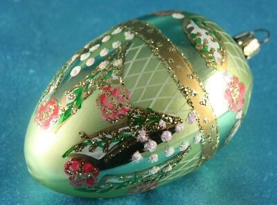 Vintage Victorian Style Glass Blown   Hand Painted Decorated Ornament  Christmas