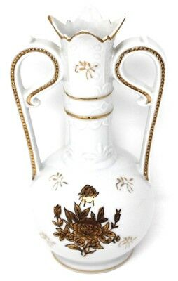Vintage Guilded Cream Gold  Gilded Floral Porcelain Vase