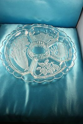"""Cut Glass Divided Condiment Dish  By Indiana Glass Intaglio  12"""""""