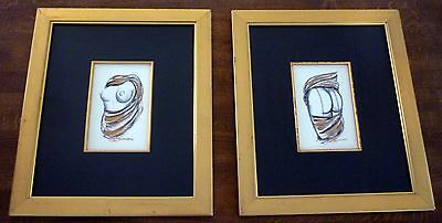 VERONIQUE BOSSARD Erotic Original over Print Gold Paint & Charcoal x 2 Paintings