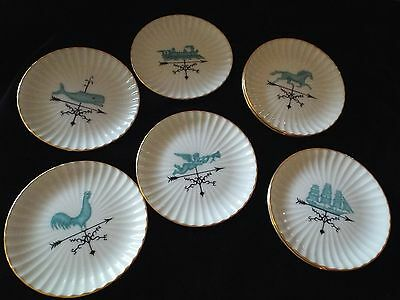 Eight Lenox Fluted Coaster With Assortment Pictures Of Weathervanes-Gold Mark