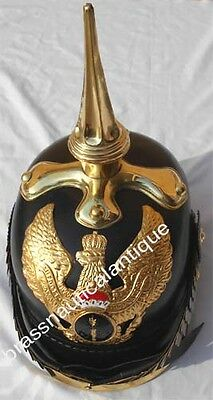 Leather Pickelhaube Prussian Long Spike WW1 German Pickelhaube Leather Helmet