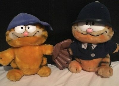 vintage garfield baseball player and police officer  1980s original soft toys