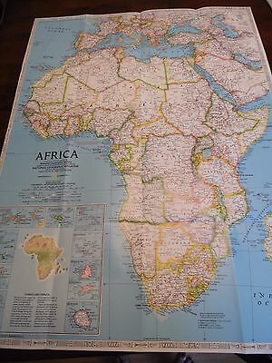 Vintage National Geographic Map Africa 1990 Double Sided