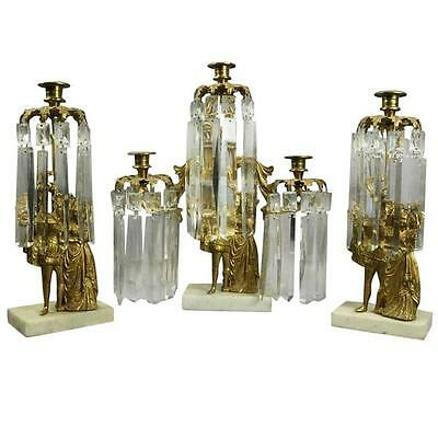 Set of Three Antique French Classical Gilt Metal and Crystal Figural Girandole