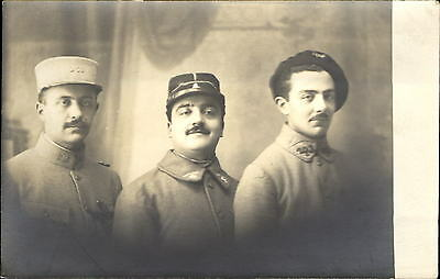 WWI WW1 era RPPC French? Soldiers in uniform different hats ~ studio real photo