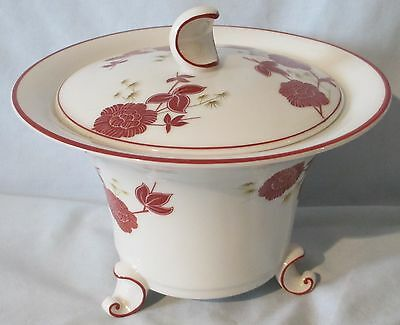 Hutschenreuther Lotos ? Footed Candy and Lid Burgundy Flowers