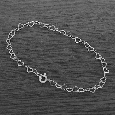 Genuine 925 Sterling Silver 3mm Heart Link Bracelet - 3 Sizes