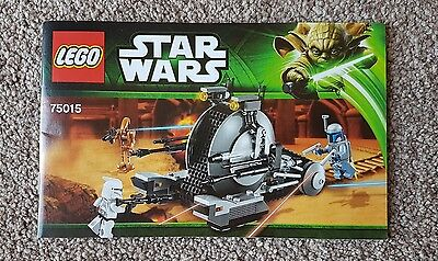 Lego Star Wars 75015 Corporate Alliance Tank Droid Instruction Manual NEW