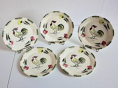 """Blue Ridge Pottery Rooster Cock O' Walk 5 Hand-Painted Bread Dessert Plates 6"""""""