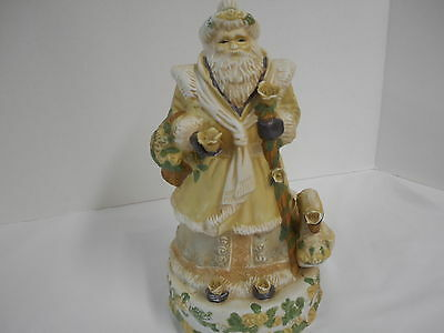 """Santa and Swan Porcelain Bisque Music Box Dreaming of a White Christmas 11"""" T"""