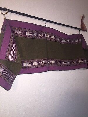 """Peruvian Rug Runner Tapestry Oblong 51"""" x 14"""" Wool Purple Olive Woven"""