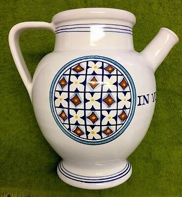 DERUTA Hand Painted Art Pottery Ceramic Pitcher Made In Italy, Navy & Turquoise!