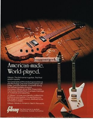 1983 Gibson Electric Guitar Flying V Explorer American Made Magazine Ad