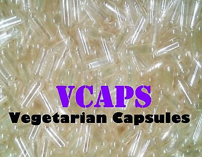 """NEW!! VCAPS 1000 Clear Size """"0"""" Empty Vegetarian Capsules (HPMC) No Gelatin"""