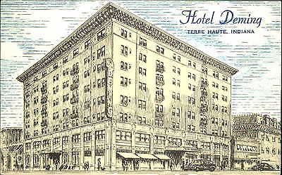 Hotel Deming Terre Haute Indiana IN 1940s