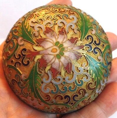 Exquisite Antique Chinese Cloisonne Gilt Champeleve Lidded Pot
