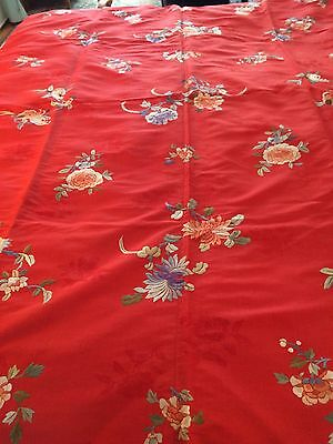 Exceptional Antique Chinese Red Silk Embroidered Coverlet - personal collection